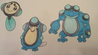 How to draw Pokemon: No.535 Tympole, No.536 Palpitoad, No.537 Seismitoad