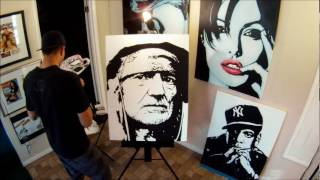 WILLIE NELSON TIME LAPSE PAINTING by CARSON GRIER