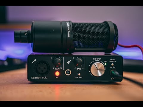 MY AUDIO SETUP! AUDIO TECHNICA AT2020 WITH FOCUSRITE SCARLETT SOLO REVIEW!