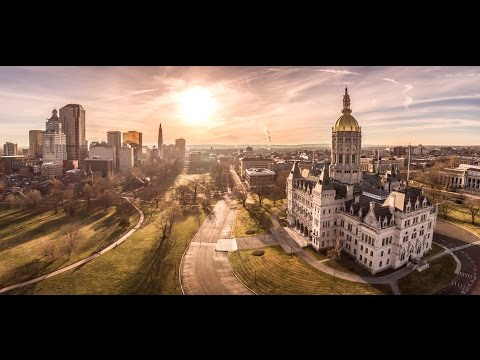 Hartford Connecticut - Downtown at Sunrise,  Aerial Drone Photography and Video CT, MA, NY, NJ, RI