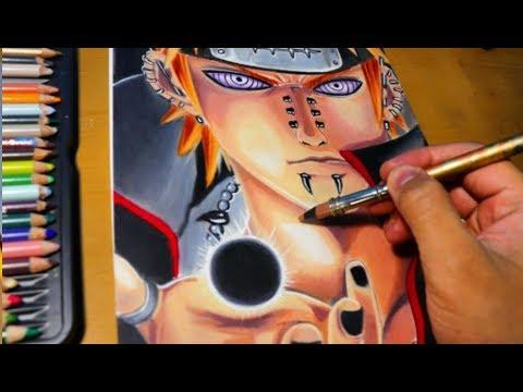 Desenhando Pain Akatsuki Shinra Tensei Time Lapse Youtube