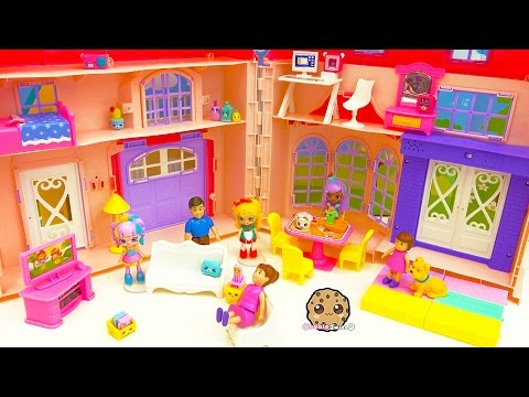 Shoppies Spaghetti Sue New House Moving In + Unboxing 6 Happy Places Shopkins Surprise Blind Bags
