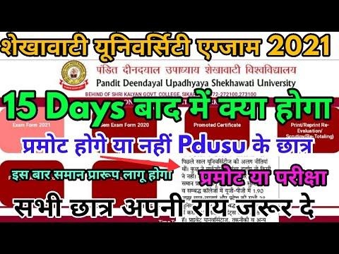 Shekhawati University के छात्र भी प्रमोट होगे | Pdusu Exam 2021 Promote News | UG PG BEd Exam News