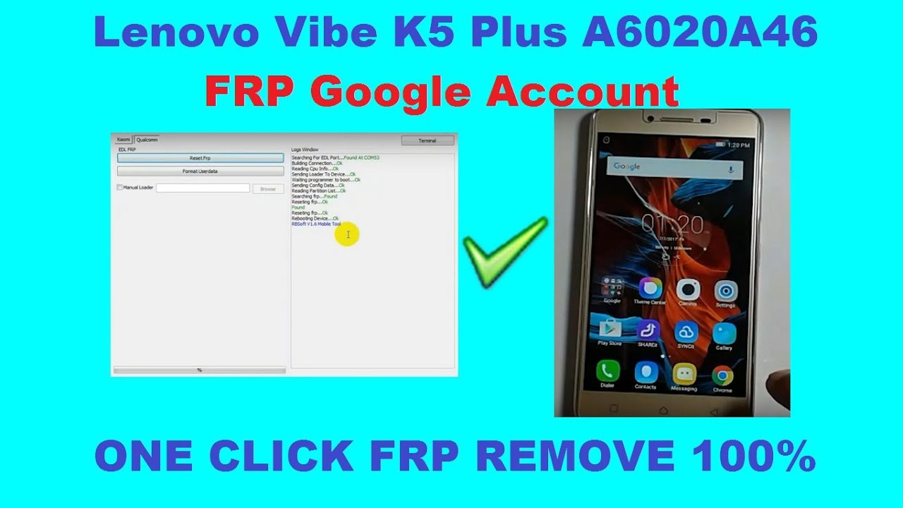 How To Bypass FRP Google Account Lenovo Vibe K5 Plus A6020A46 by Software  Solution