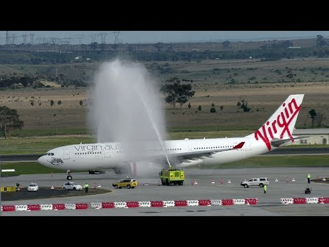 A Water Cannon Salute greets Virgin Australia's first flight to Hong Kong