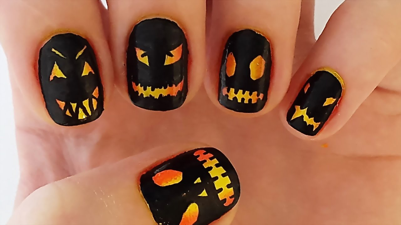 Halloween Ombre Nails | Black and Yellow Ombre Nail Art ...