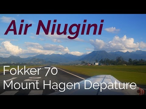 Passenger View! Air Niugini Fokker 70 Stunning Takeoff from Mount Hagen Airport, PNG