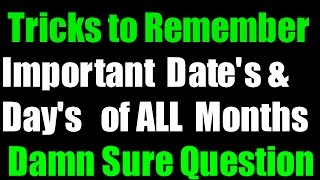Trick to learn important Day's & Date's of all Months | Static G.K Tricks