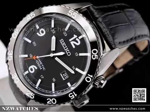 SEIKO Kinetic Black Bezel Leather Strap 100M Mens Watch SKA621P1. NZwatches 566bb2394