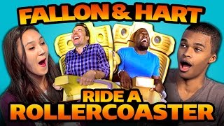teens react to jimmy fallon kevin hart ride a roller coaster
