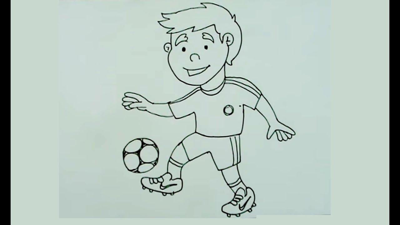 Dibujo De Jugando A Fútbol Para Colorear: Cómo Dibujar Paso A Paso Un Niño Jugando Fútbol