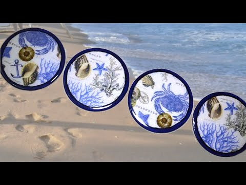 DIY Decoupage Seashell Coasters / Easy Cast (HD)