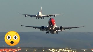 Stunning view: Emirates A380 landing with a B737 taking off at Manchester Airport thumbnail