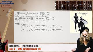 🎻 Dreams - Fleetwood Mac Bass Backing Track with chords and lyrics