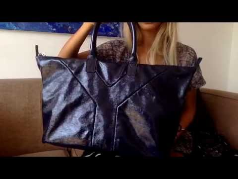 YSL patent leather boston easy  bag in marine blue la_bonita03