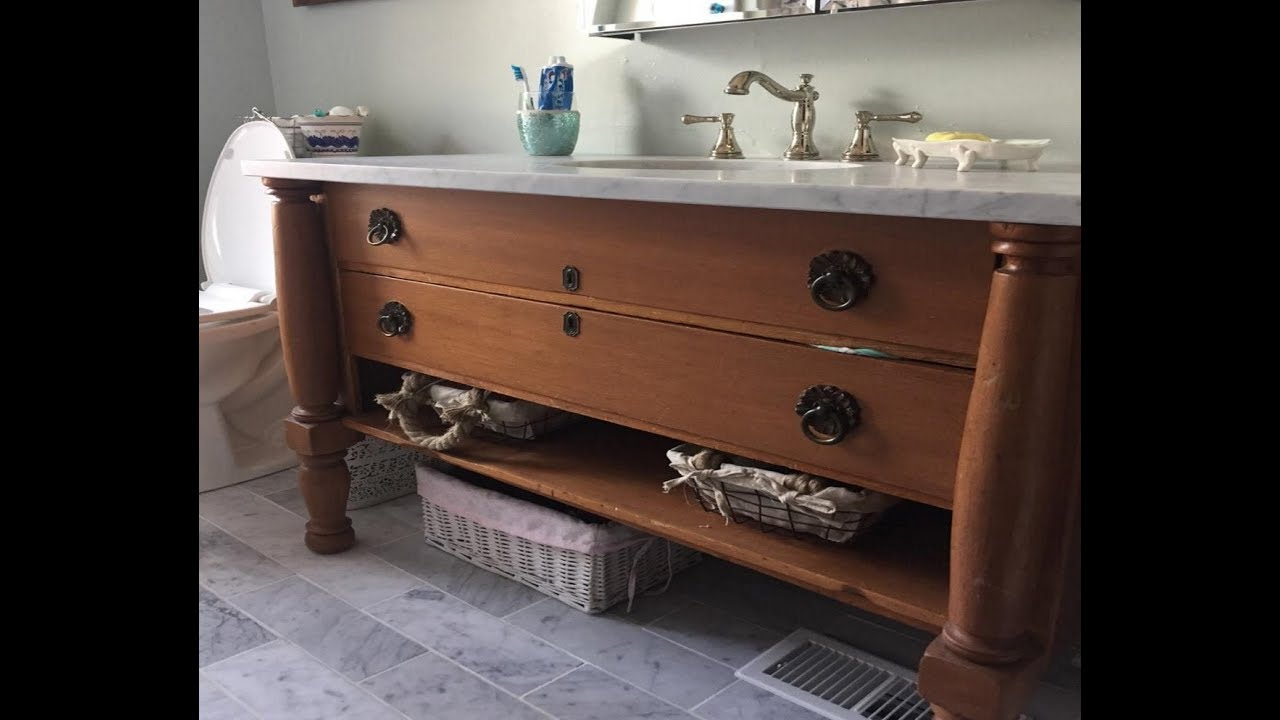Converting Antique Dresser To Bathroom Vanity | THE HANDYMAN | - YouTube