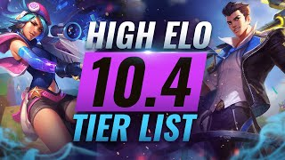 HIGH ELO Best Champions TIER List - League of Legends Patch 10.4