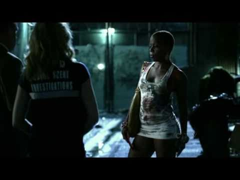 Tangie Ambrose in a tight white minidress in csi episode