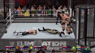 WWE 2K17 with supersilver elimination chamber match intense (funny moments)