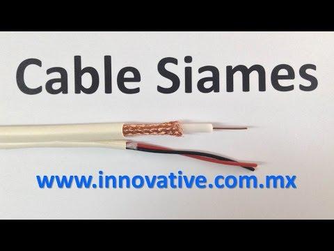 Cable Siames para camaras de Video, CCTV, Coaxial RG-59 + 2 Cables Calibre 18 AWG, Surveillance