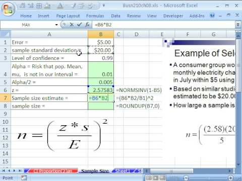 Excel Statistics 87: Sample Size for Confidence Intervals - YouTube