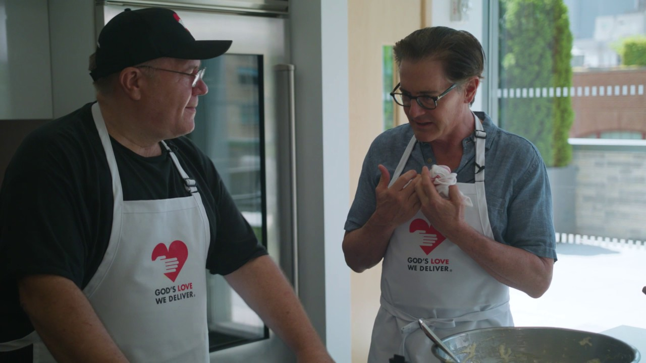 "Kyle MacLachlan and Chuck ""The Baker"" make Father's Day waffles at God's Love"