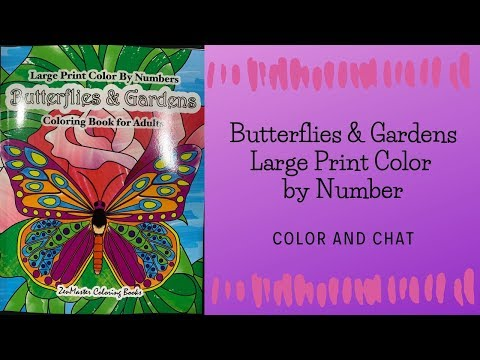 butterflies-&-gardens:-large-print-color-by-number---color-and-chat