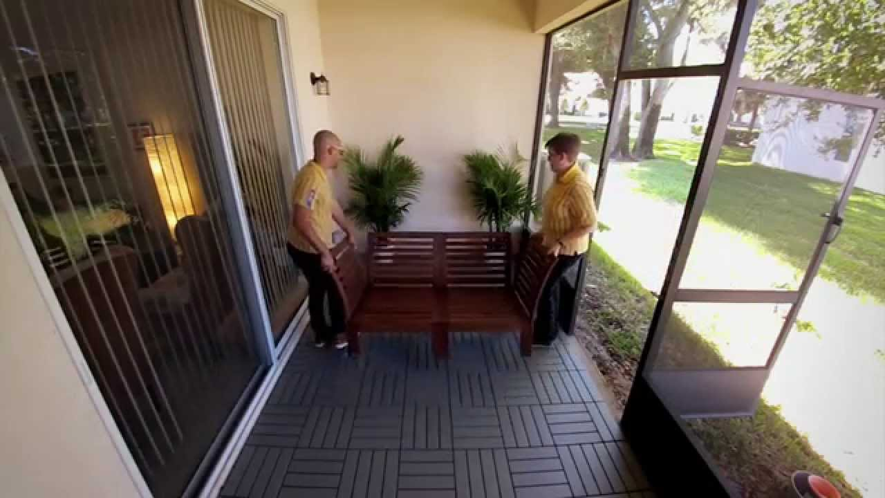 diy patio project laying outdoor deck tiles ikea home tour