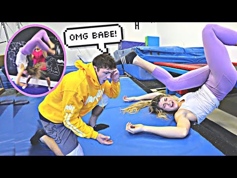TEACHING MY FIANCE HOW TO BACKFLIP *GONE WRONG*