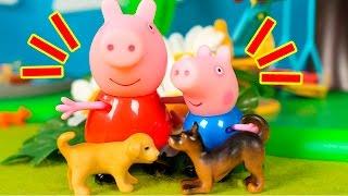 ❤ PEPPA PIG ❤ A Peppa y a George les regalan dos cachorros de perro   Peppa Pig Juguetes en Español