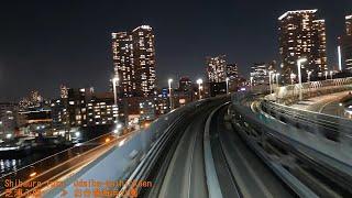 「ゆりかもめ」前面展望「夜景」全区間(新橋-豊洲)[字幕]「7300系」[4K]Cab View Yurikamome Line Tokyo 2019.01 thumbnail