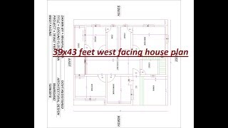west facing house plan | 39x43 feet | 3 BHK with vastu