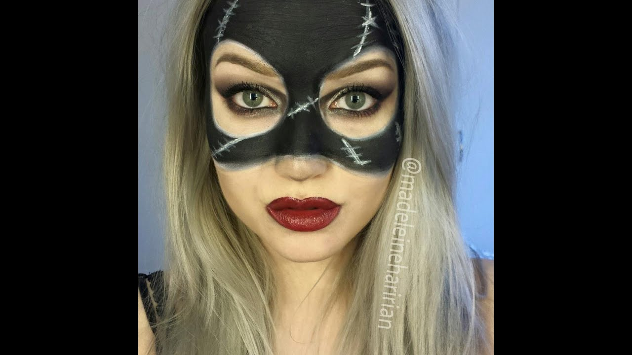 Quick tutorial catwoman mask halloween facepaint - YouTube