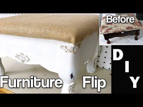 Furniture Makeover - DIY Extreme Furniture Flip - Stool Reupholster - Using IOD Moulds