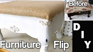 Furniture Makeover - DIY Extreme Furniture Flip - Stool Reupholster - Using IOD Moulds