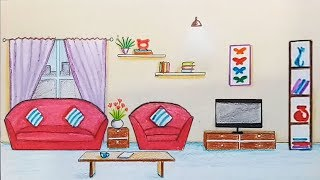 How to draw scenery of drawing room step by step