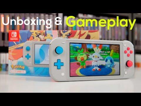 "Nintendo Switch Lite Zacian And Zamazenta ""Pokemon Sword And Shield"" Edition - Unboxing & Gameplay"