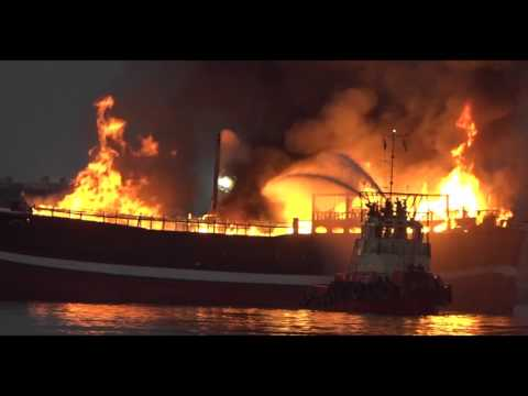 Ship Fire in Sharjah
