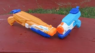 Nerf Super soaker Double Drench Vs Freeze Fire Review!