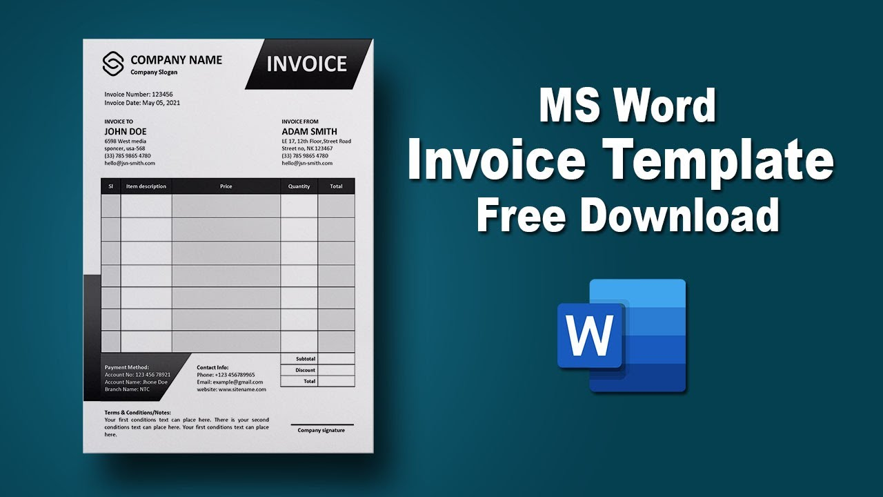How To Design Simple Black Invoice Template In Microsoft Word Youtube