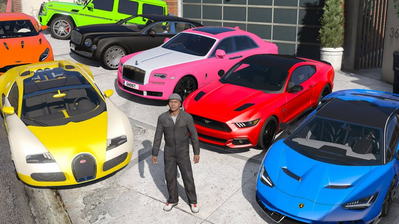 GTA 5 - Stealing Luxury Cars with Franklin! (Real Life Cars #02) thumbnail