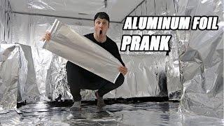 INSANE ALUMINUM FOIL ROOM PRANK!! (200+ ROLLS FT. WOLFIERAPS)