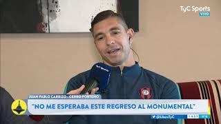 Juan Pablo Carrizo y su vuelta al Monumental: