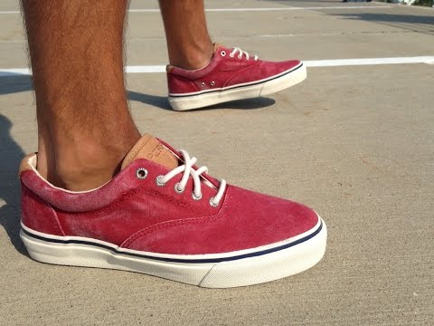 Sperry Top-Sider Red Striper ON FEET