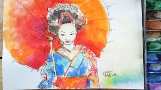 Live art painting  geisha girl  by Ting Chieh