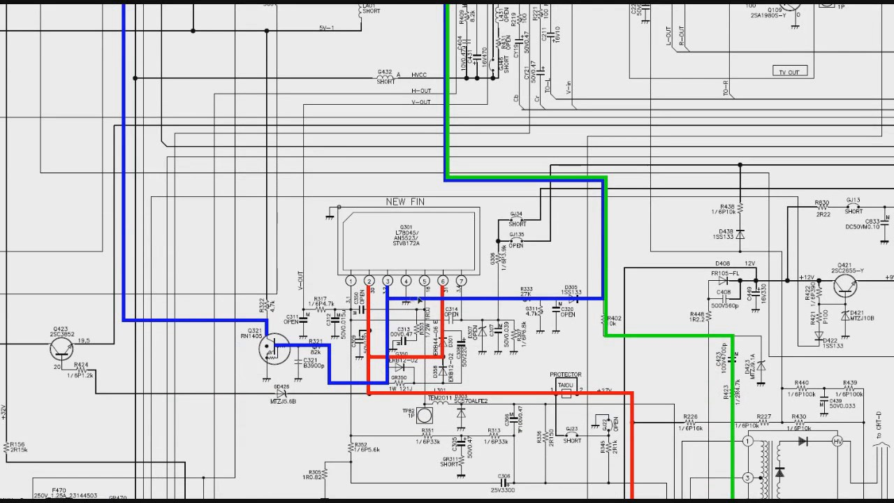 Circuito Not : 009 circuito vertical de tv de tubo no esquema elétrico parte 2