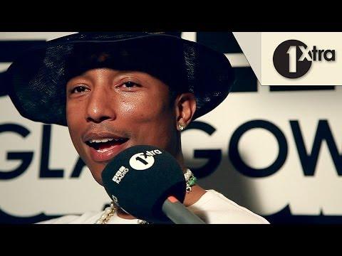 Pharrell Williams backstage at BBC Radio 1's Big Weekend 2014 with Clara Amfo