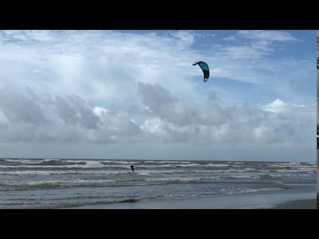 Kitesurfing in Post Hanna Winds, Galveston Island, Texas