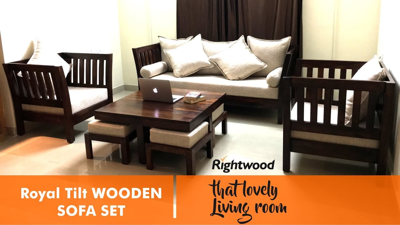 Sofa set design royal tilt wooden sofa by rightwood for Living room set design
