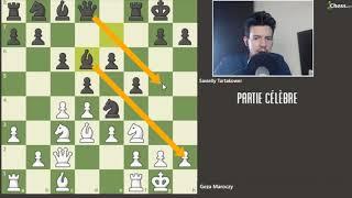 Partie d'échecs célèbre - Maroczy contre Tartakover  on apprend à attaquer avec le Stonewall